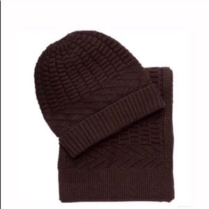 Knit scarf and hat beanie set brown